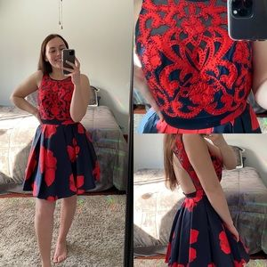 Floral Navy + Red Dress